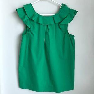 J. Crew Sleeveless Green Ruffle Shirt